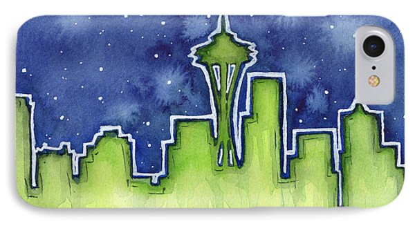 Seattle Night Sky Watercolor IPhone 7 Case by Olga Shvartsur