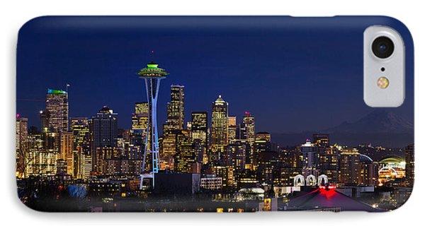 Seattle Seahawks Space Needle IPhone Case by Mary Jo Allen