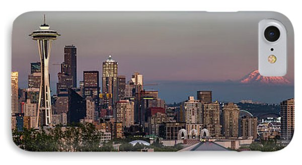IPhone Case featuring the photograph Seattle Skyline And Mt. Rainier Panoramic Hd by Adam Romanowicz