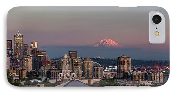 IPhone 7 Case featuring the photograph Seattle Skyline And Mt. Rainier Panoramic Hd by Adam Romanowicz