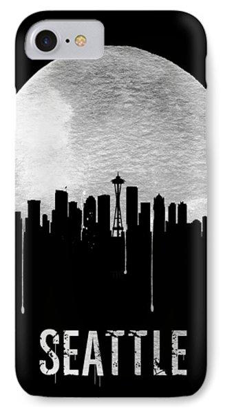Seattle Skyline Black IPhone Case by Naxart Studio