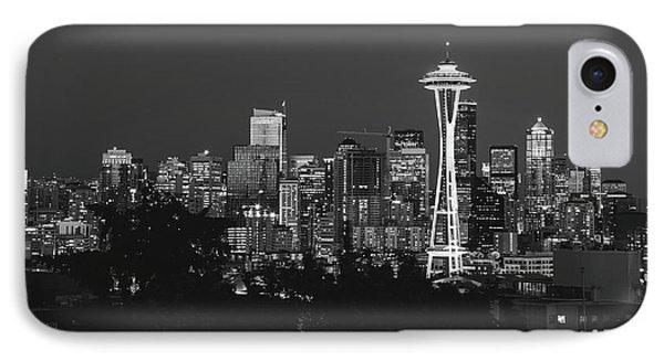 Seattle Skyline In B/w IPhone Case