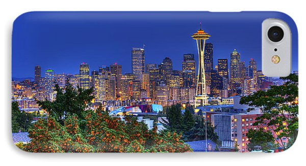 Seattle Skyline In The Fall IPhone Case by Shawn Everhart