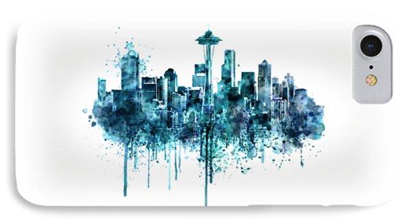 Seattle Skyline Monochrome Watercolor IPhone Case
