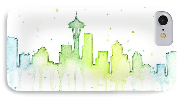 Seattle Skyline Watercolor  IPhone 7 Case by Olga Shvartsur