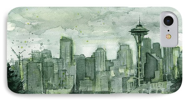 Seattle Skyline Watercolor Space Needle IPhone 7 Case by Olga Shvartsur