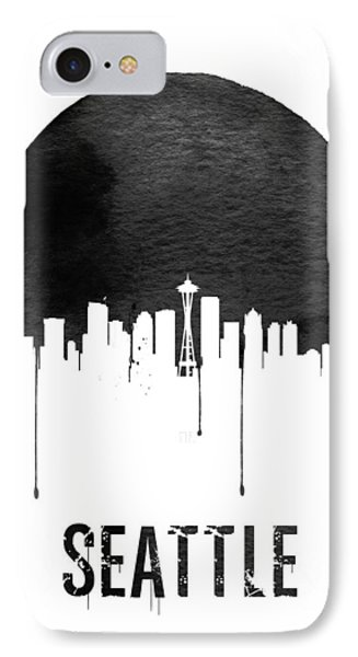 Seattle Skyline White IPhone Case by Naxart Studio