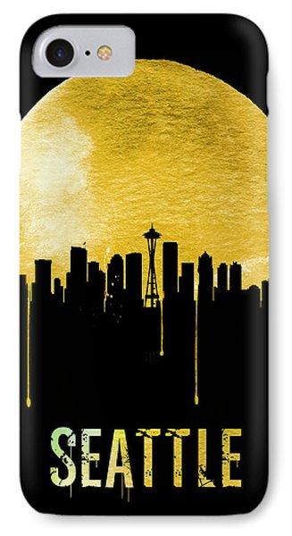 Seattle Skyline Yellow IPhone 7 Case by Naxart Studio
