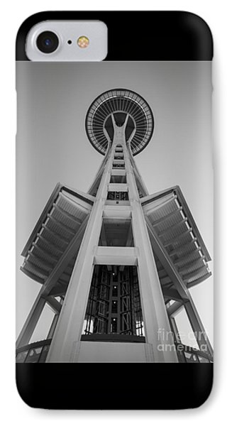 Seattle Space Needle In Black And White IPhone Case by Patrick Fennell