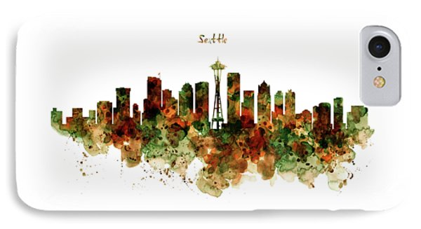 IPhone Case featuring the mixed media Seattle Watercolor Skyline Poster by Marian Voicu