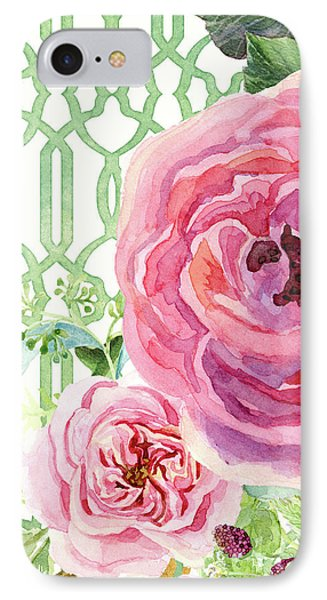 IPhone Case featuring the painting Secret Garden 3 - Pink English Roses With Woodsy Fern, Wild Berries, Hops And Trellis by Audrey Jeanne Roberts