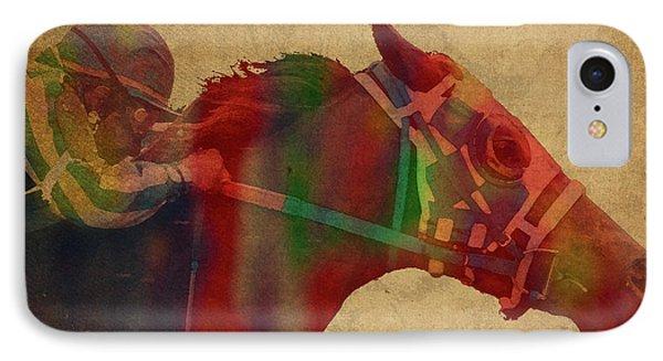 Secretariat Horse Race Watercolor Portrait IPhone Case by Design Turnpike