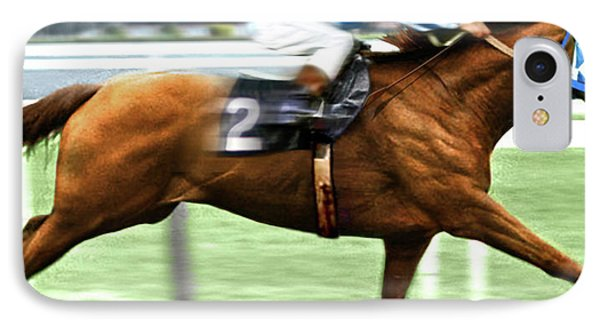 Secretariat Is Widening The Lead Now,  Painting Belmont Stakes  IPhone Case