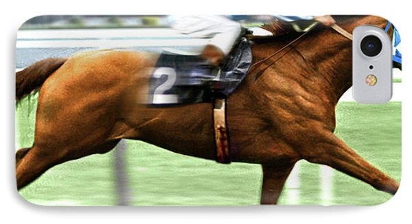 Secretariat Is Widening The Lead Now,  Painting Belmont Stakes  IPhone Case by Thomas Pollart