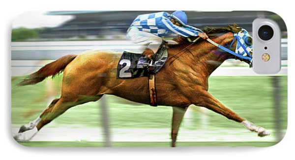 Secretariat On The Back Stretch At The Belmont Stakes IPhone Case