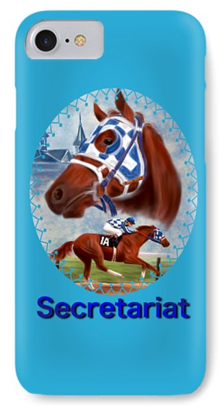 Secretariat Racehorse Portrait IPhone Case by Becky Herrera