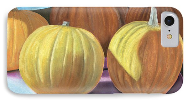 IPhone Case featuring the pastel Sedillo Pumpkins by Jan Amiss