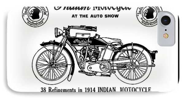 IPhone Case featuring the mixed media See New 1914 Indian Motocycle At The Auto Show by Daniel Hagerman