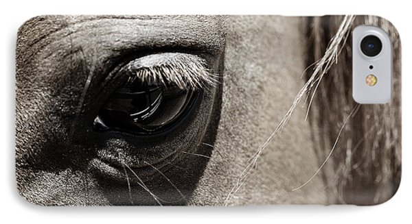 Stillness In The Eye Of A Horse IPhone Case by Marilyn Hunt