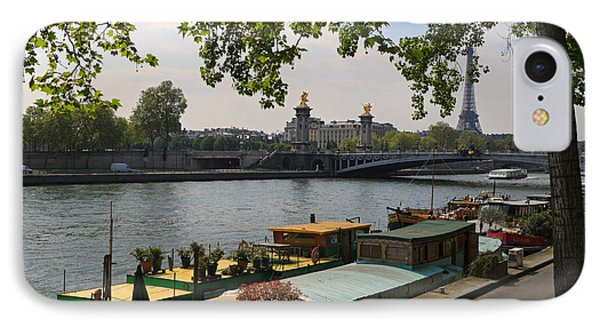Seine Barges In Paris In Spring Phone Case by Louise Heusinkveld