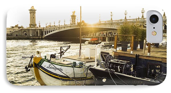Seine River With Barges And Boats, Pont De Alexandre Bridge Behind, Paris France. IPhone Case by Perry Van Munster