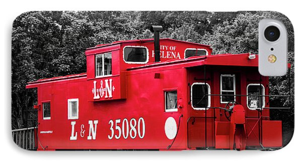 IPhone Case featuring the photograph Selective Color Red Caboose by Parker Cunningham