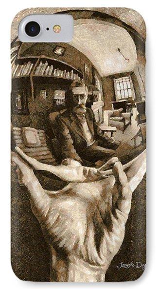 Self-portrait In Spherical Mirror By Escher Revisited - Da IPhone Case by Leonardo Digenio