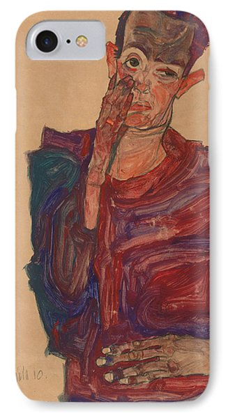 Self-portrait With Eyelid Pulled Down IPhone Case by Egon Schiele