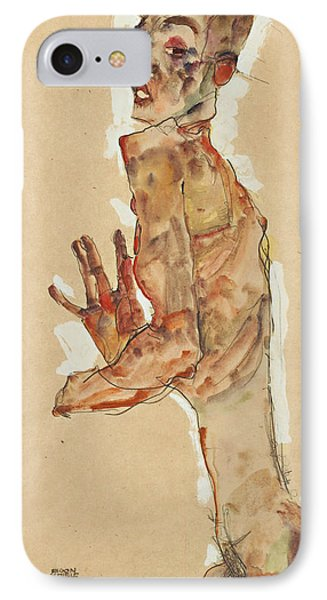 Self-portrait With Splayed Fingers IPhone Case by Egon Schiele