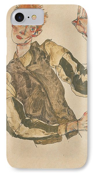 Self-portrait With Striped Armlets IPhone Case by Egon Schiele
