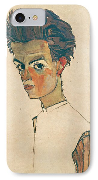 Self-portrait With Striped Shirt IPhone Case by Egon Schiele