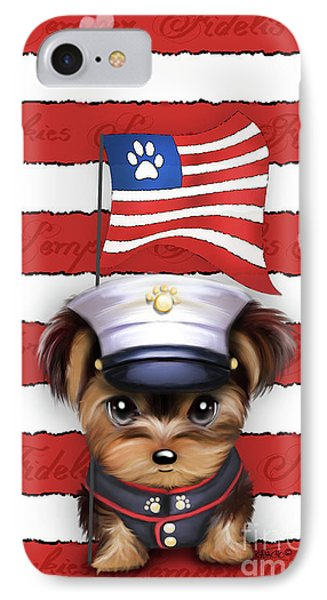 Semper Fidelis Yorkie Marine IPhone Case by Catia Cho