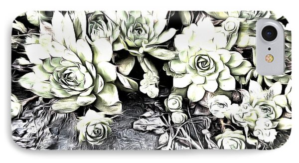 IPhone Case featuring the photograph Sempervivum - Ebony And Ivory  by Janine Riley