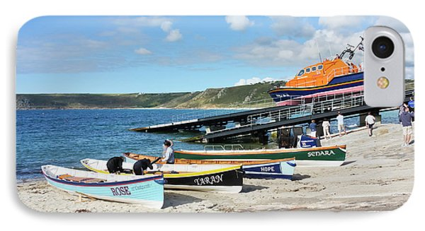 Sennen Cove Lifeboat And Pilot Gigs Phone Case by Terri Waters