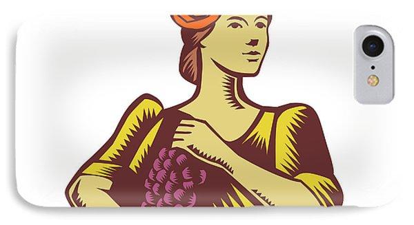 Senorita Holding Grapes Woodcut IPhone Case