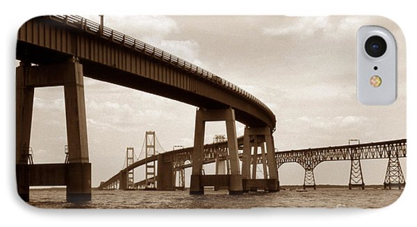 Sepia Chesapeake Bay Bridge IPhone Case by Skip Willits