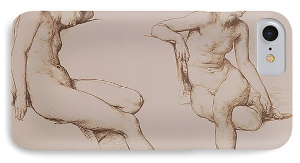 Sepia Drawing Of Nude Woman Phone Case by William Mulready