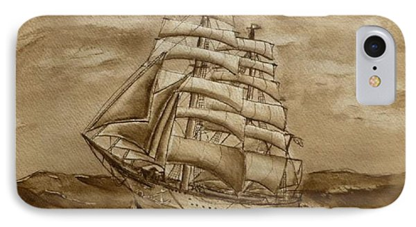 IPhone Case featuring the painting Sepia Oceans Fury by Kelly Mills