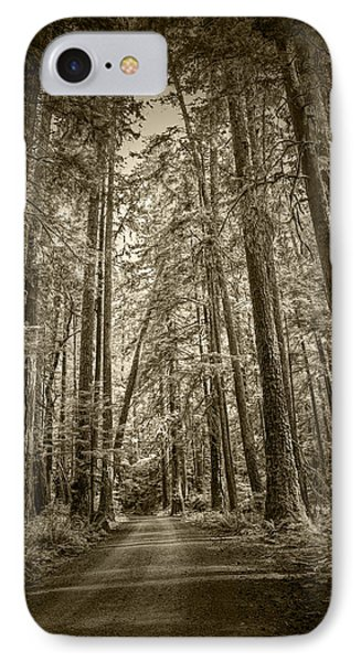 Sepia Tone Of A Rain Forest Dirt Road IPhone Case by Randall Nyhof