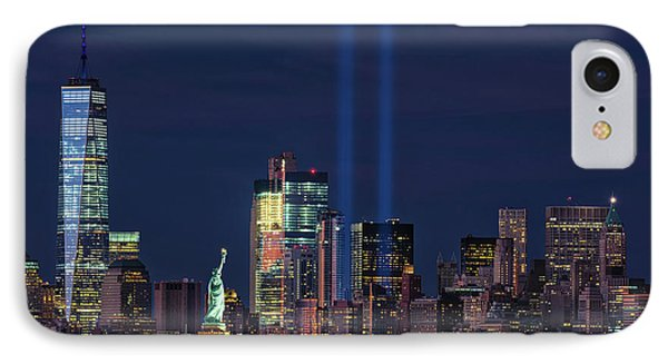 IPhone Case featuring the photograph September 11tribute In Light by Emmanuel Panagiotakis