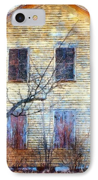 IPhone Case featuring the photograph September's Gone - Yellow Farmhouse Windows by Janine Riley