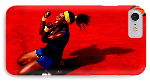 Serena Williams French Open Victory IPhone Case by Brian Reaves