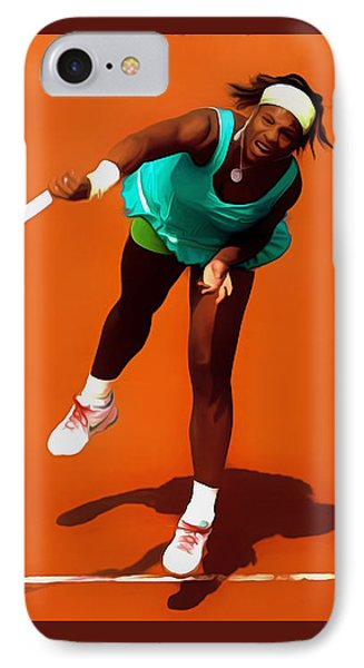 Serena Williams Match Point 2c IPhone Case by Brian Reaves