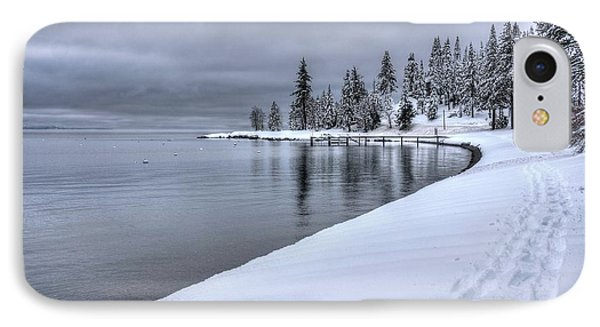 IPhone Case featuring the photograph Serene Beauty Of Lake Tahoe Winter by Peter Thoeny