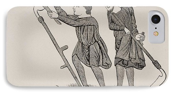 Serfs Labouring Fields With Scythes IPhone Case by Vintage Design Pics