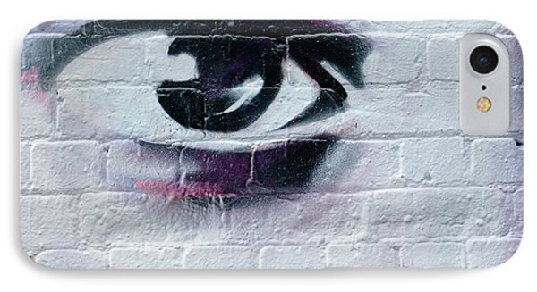 IPhone Case featuring the painting Serious Graffiti Eye On The Wall by Yurix Sardinelly