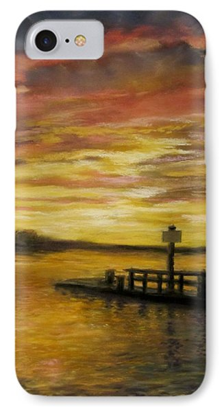 IPhone Case featuring the painting Sesuit Harbor At Sunset by Jack Skinner