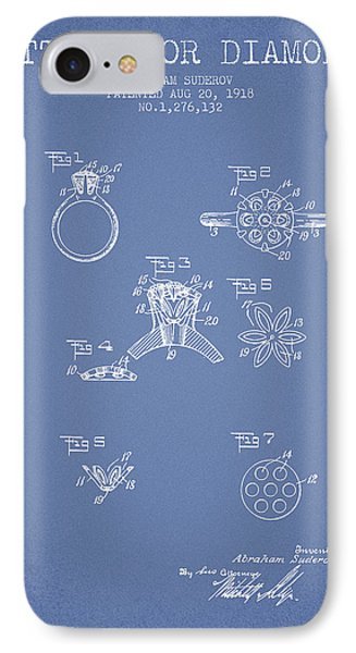 Setting For Diamonds Patent From 1918 - Light Blue IPhone Case by Aged Pixel