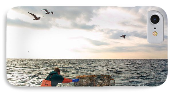 Setting Lobster Traps In Chatham On Cape Cod IPhone Case
