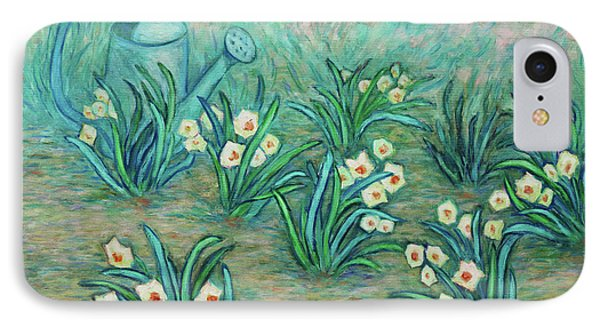 IPhone Case featuring the painting Seven Daffodils by Xueling Zou
